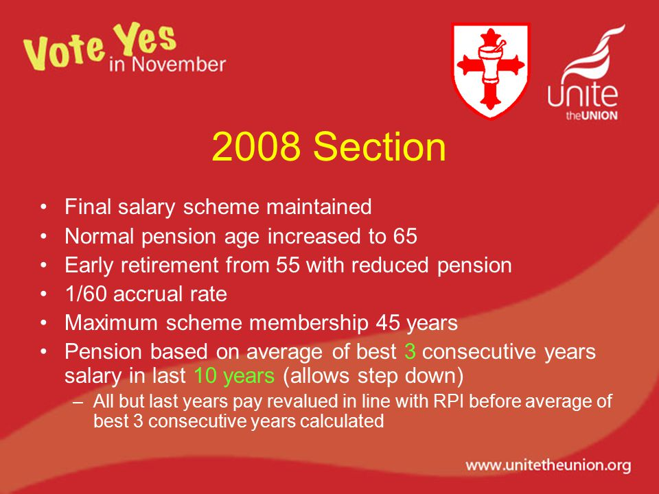 2008 Section Final salary scheme maintained Normal pension age increased to 65 Early retirement from 55 with reduced pension 1/60 accrual rate Maximum scheme membership 45 years Pension based on average of best 3 consecutive years salary in last 10 years (allows step down) –All but last years pay revalued in line with RPI before average of best 3 consecutive years calculated