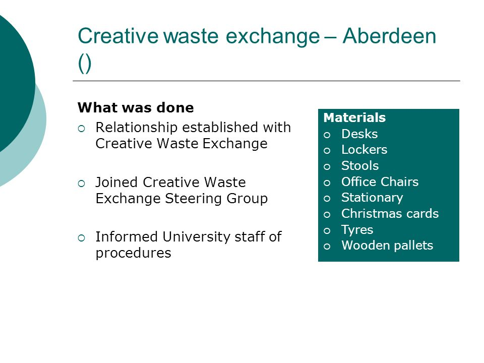 Creative waste exchange – Aberdeen () What was done  Relationship established with Creative Waste Exchange  Joined Creative Waste Exchange Steering