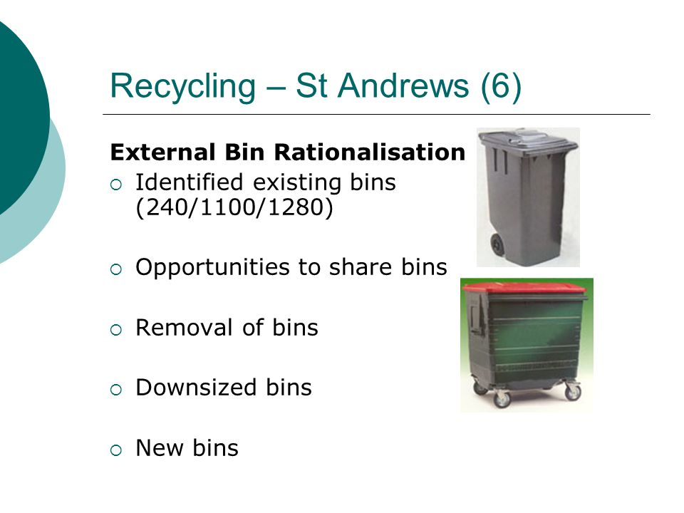 Recycling – St Andrews (6) External Bin Rationalisation  Identified existing bins (240/1100/1280)  Opportunities to share bins  Removal of bins  D