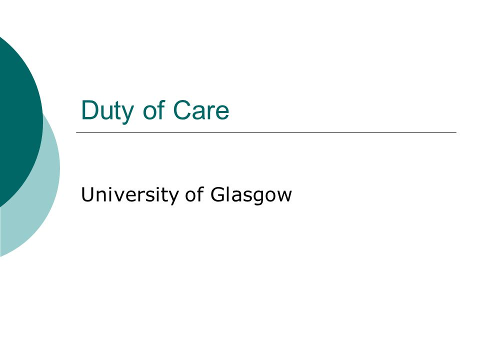 Duty of Care University of Glasgow