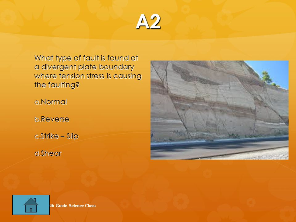 A2 What type of fault is found at a divergent plate boundary where tension stress is causing the faulting.