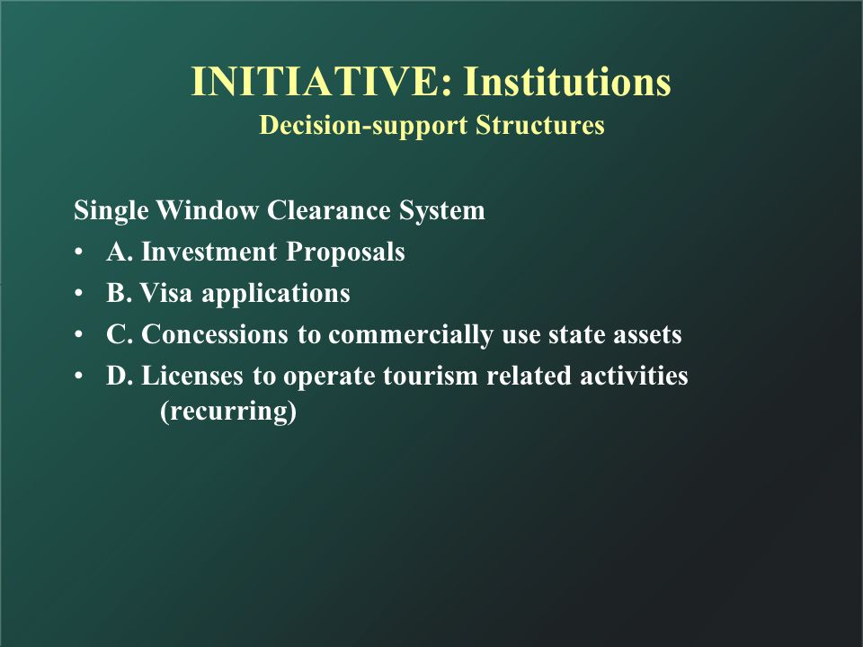 INITIATIVE: Institutions Decision-support Structures Single Window Clearance System A.