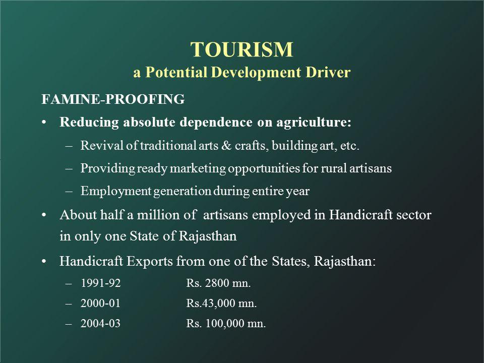 TOURISM creates: a.Jobs in situ-wild life sanctuaries, historical places, beaches, mountains etc.