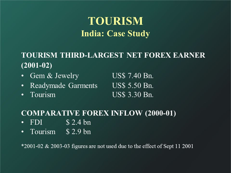 TOURISM India: Case Study TOURISM THIRD-LARGEST NET FOREX EARNER (2001-02) Gem & JewelryUS$ 7.40 Bn.
