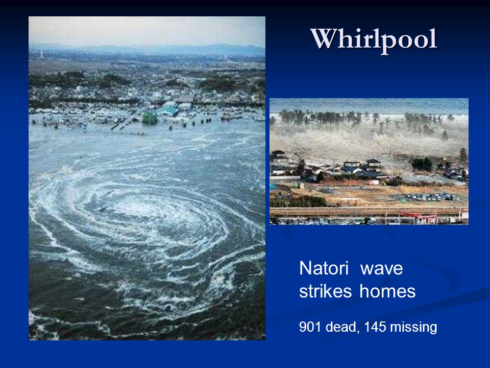 Whirlpool Natori wave strikes homes 901 dead, 145 missing