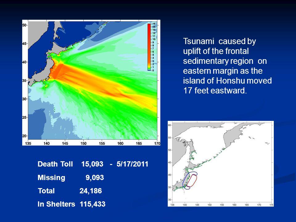 . 6.7 meter (22 ft) high Tsunami in 204 m deep ocean at Iwate GPS Gauge Yamazaki/Cheung UH source for Tsunami Max 25 meter uplift, -2.8 ft depression