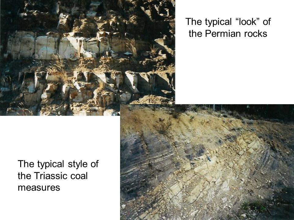 The typical look of the Permian rocks The typical style of the Triassic coal measures