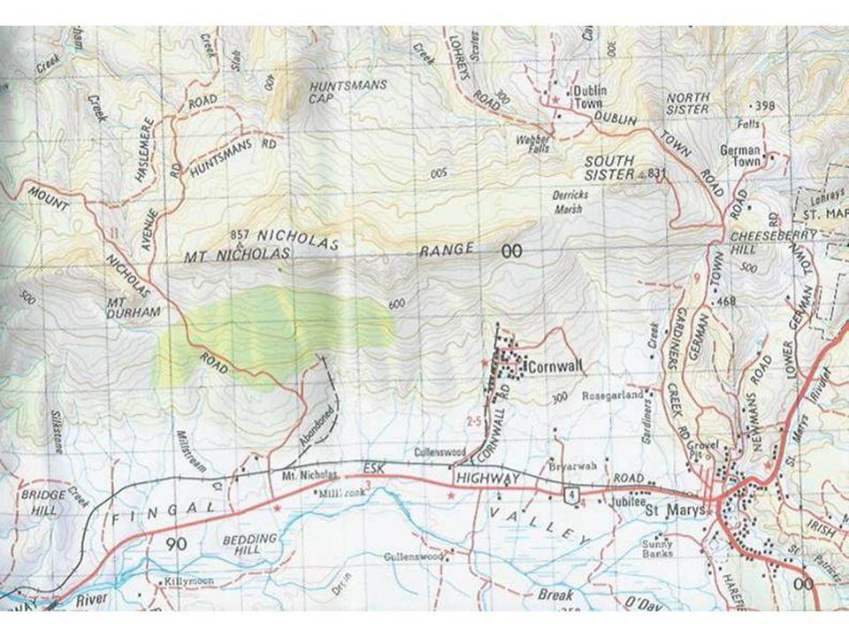 Geological map of eastern Nicholas Range north of St Marys