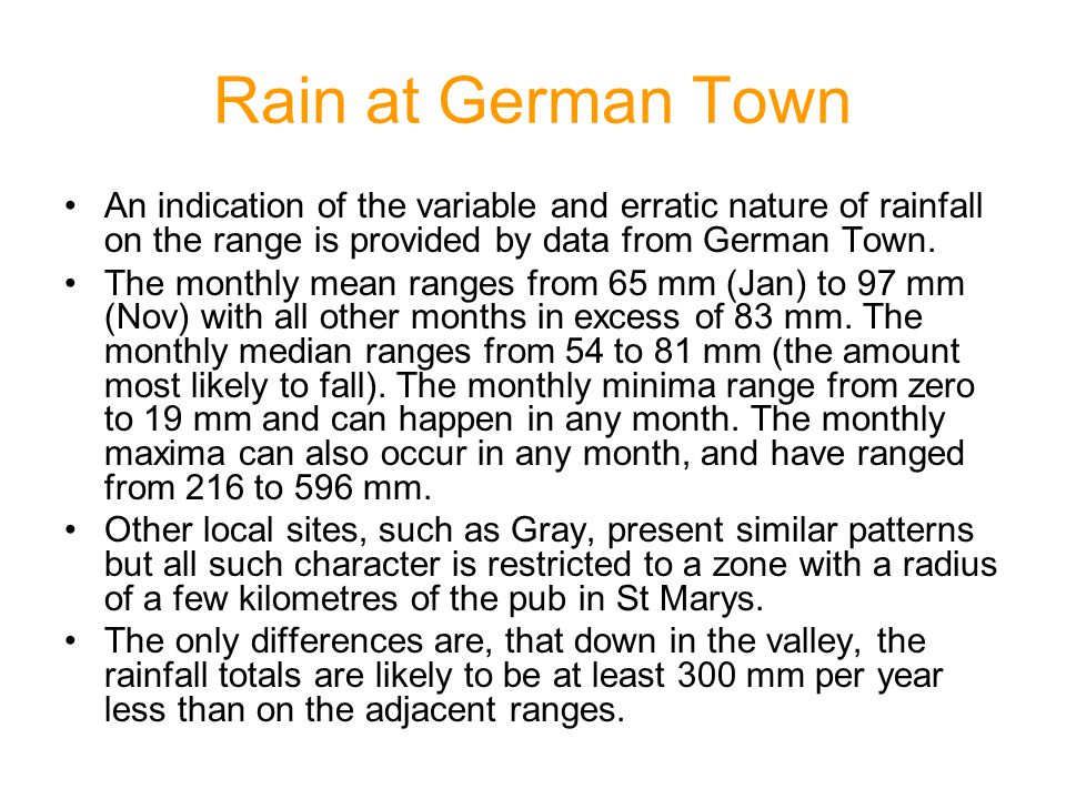 Rain at German Town An indication of the variable and erratic nature of rainfall on the range is provided by data from German Town.