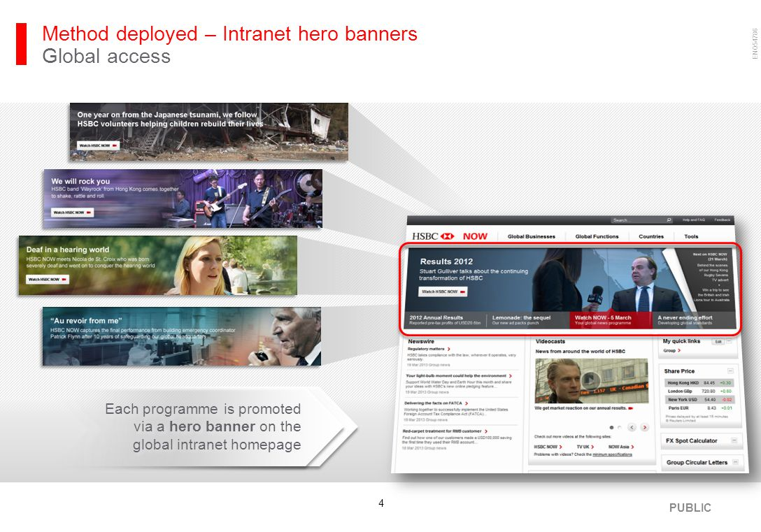 ENQ54786 4 Method deployed – Intranet hero banners Global access Each programme is promoted via a hero banner on the global intranet homepage PUBLIC