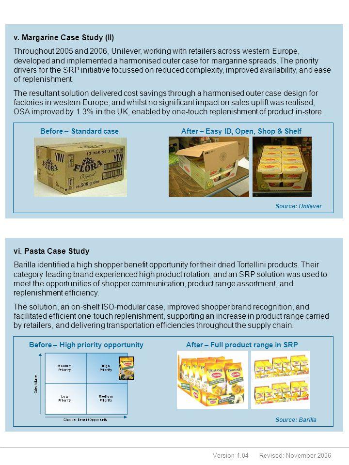 Version 1.04Revised: November 2006 Before – Standard caseAfter – Easy ID, Open, Shop & Shelf Source: Unilever v. Margarine Case Study (II) Throughout