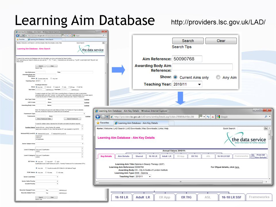 Learning Aim Database http://providers.lsc.gov.uk/LAD/ 50090768