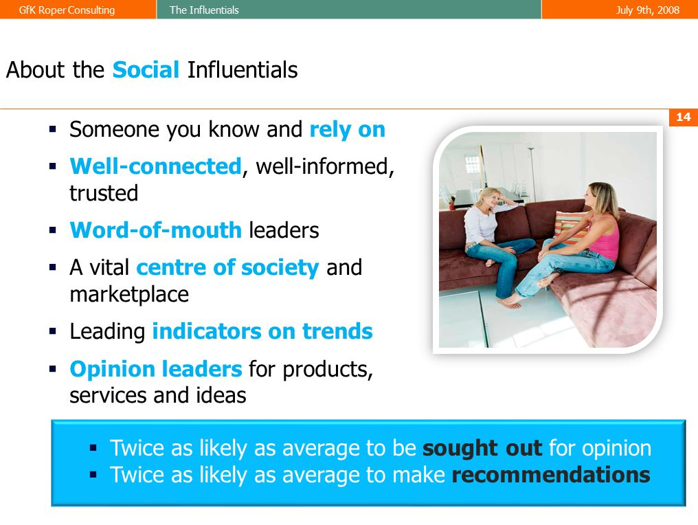 GfK Roper ConsultingThe InfluentialsJuly 9th, 2008 14 About the Social Influentials  Someone you know and rely on  Well-connected, well-informed, trusted  Word-of-mouth leaders  A vital centre of society and marketplace  Leading indicators on trends  Opinion leaders for products, services and ideas  Twice as likely as average to be sought out for opinion  Twice as likely as average to make recommendations