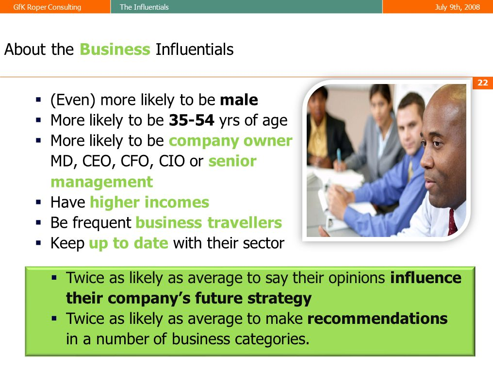 GfK Roper ConsultingThe InfluentialsJuly 9th, 2008  (Even) more likely to be male  More likely to be 35-54 yrs of age  More likely to be company owner MD, CEO, CFO, CIO or senior management  Have higher incomes  Be frequent business travellers  Keep up to date with their sector 22 About the Business Influentials  Twice as likely as average to say their opinions influence their company's future strategy  Twice as likely as average to make recommendations in a number of business categories.