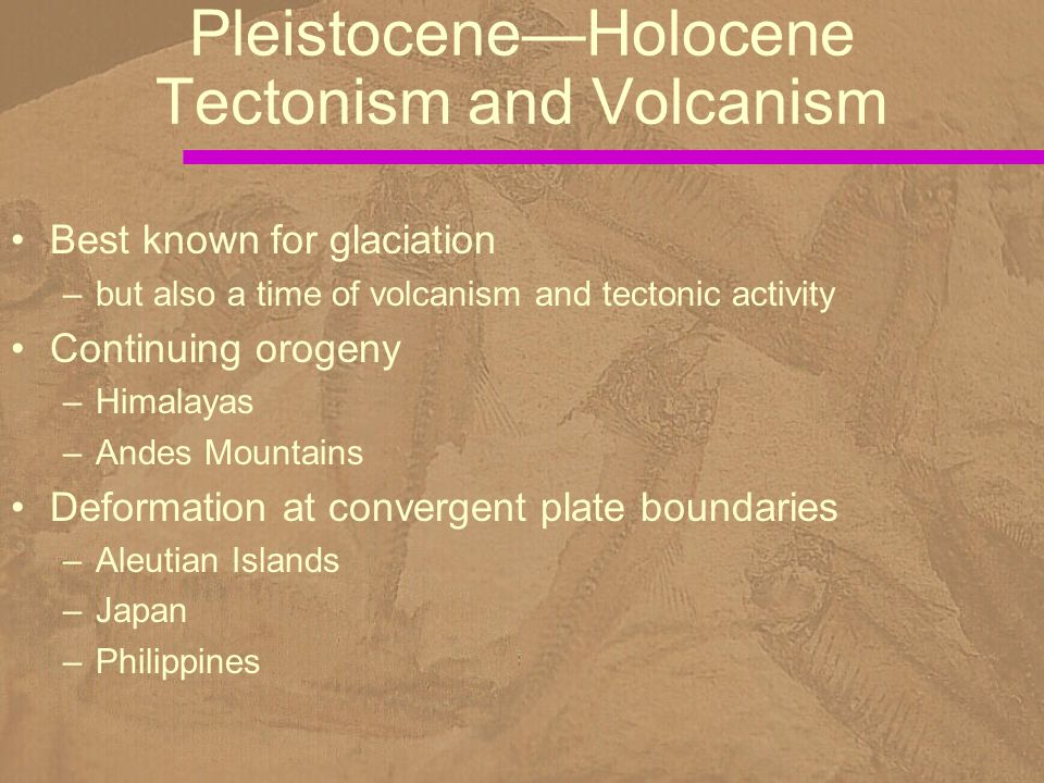 Best known for glaciation –but also a time of volcanism and tectonic activity Continuing orogeny –Himalayas –Andes Mountains Deformation at convergent plate boundaries –Aleutian Islands –Japan –Philippines Pleistocene—Holocene Tectonism and Volcanism