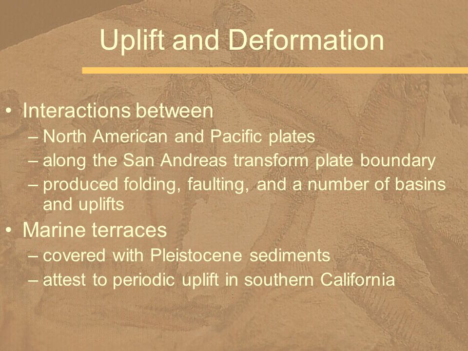 Interactions between –North American and Pacific plates –along the San Andreas transform plate boundary –produced folding, faulting, and a number of basins and uplifts Marine terraces –covered with Pleistocene sediments –attest to periodic uplift in southern California Uplift and Deformation