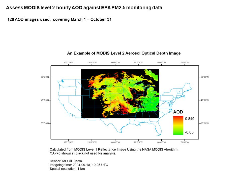 Assess MODIS level 2 hourly AOD against EPA PM2.5 monitoring data 120 AOD images used, covering March 1 – October 31