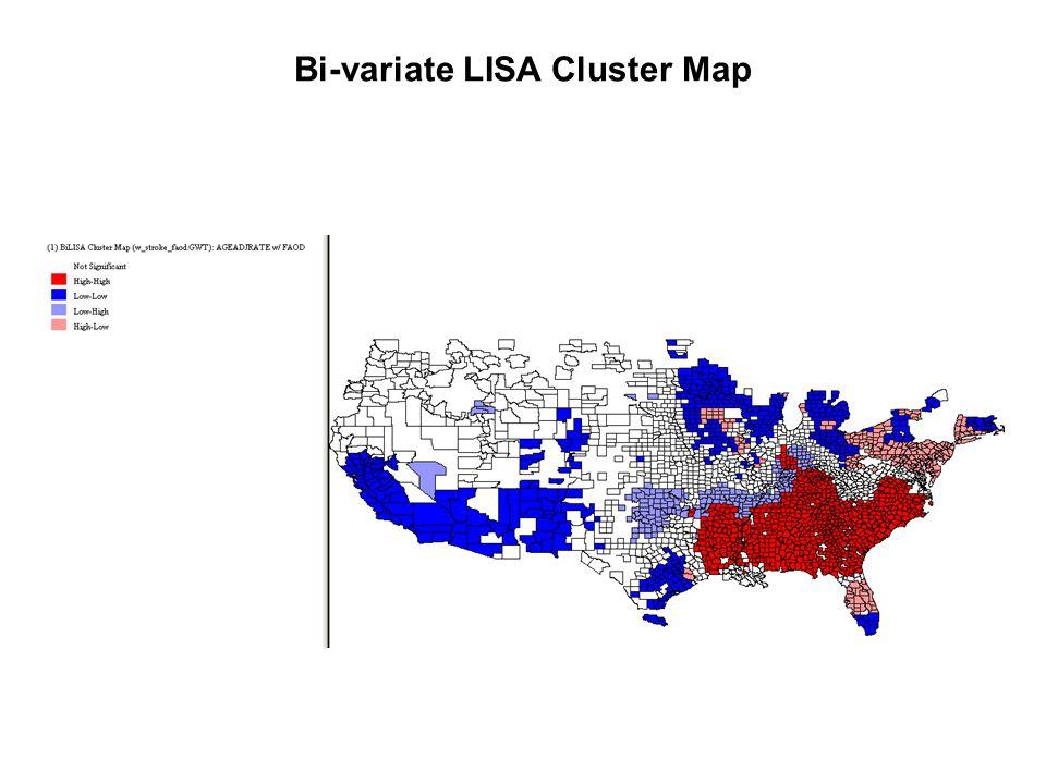 Bi-variate LISA Cluster Map