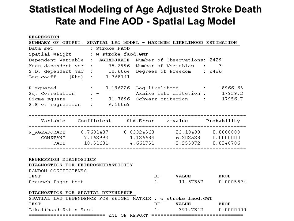 Statistical Modeling of Age Adjusted Stroke Death Rate and Fine AOD - Spatial Lag Model