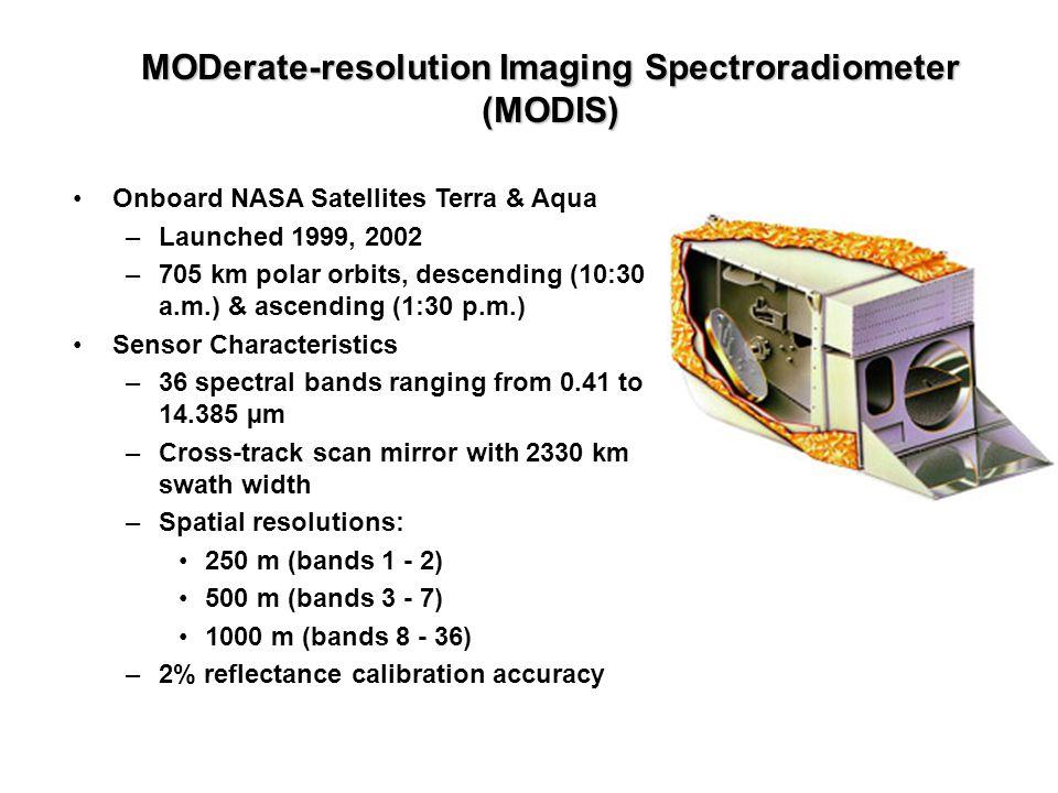 Onboard NASA Satellites Terra & Aqua –Launched 1999, 2002 –705 km polar orbits, descending (10:30 a.m.) & ascending (1:30 p.m.) Sensor Characteristics
