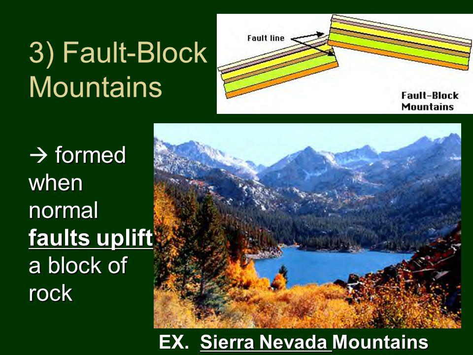 3) Fault-Block Mountains Sierra Nevada Mountains EX.