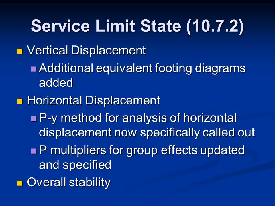 Service Limit State (10.7.2) Vertical Displacement Vertical Displacement Additional equivalent footing diagrams added Additional equivalent footing di