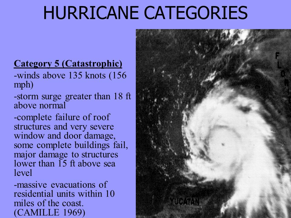 HURRICANE CATEGORIES Category 5 (Catastrophic) -winds above 135 knots (156 mph) -storm surge greater than 18 ft above normal -complete failure of roof structures and very severe window and door damage, some complete buildings fail, major damage to structures lower than 15 ft above sea level -massive evacuations of residential units within 10 miles of the coast.