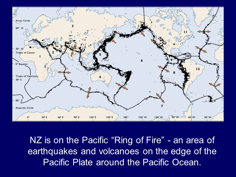 NZ is on the Pacific Ring of Fire - an area of earthquakes and volcanoes on the edge of the Pacific Plate around the Pacific Ocean.