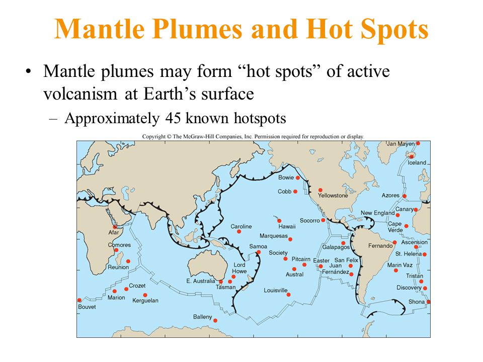 Mantle Plumes and Hot Spots Mantle plumes may form hot spots of active volcanism at Earth's surface –Approximately 45 known hotspots