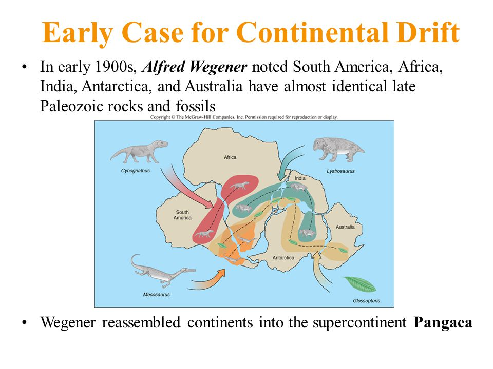 Early Case for Continental Drift In early 1900s, Alfred Wegener noted South America, Africa, India, Antarctica, and Australia have almost identical late Paleozoic rocks and fossils Wegener reassembled continents into the supercontinent Pangaea
