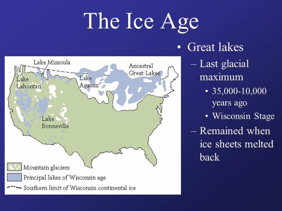 The Ice Age Great lakes –Last glacial maximum 35,000-10,000 years ago Wisconsin Stage –Remained when ice sheets melted back