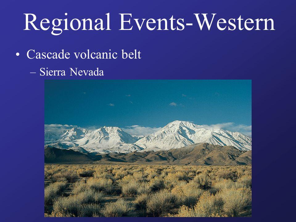 Regional Events-Western Cascade volcanic belt –Sierra Nevada