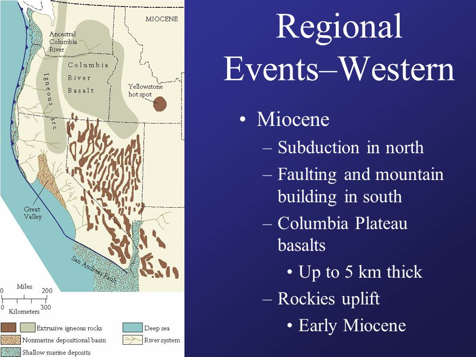 Regional Events–Western Miocene –Subduction in north –Faulting and mountain building in south –Columbia Plateau basalts Up to 5 km thick –Rockies upli
