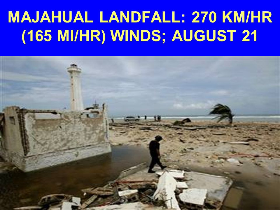 MAJAHUAL LANDFALL: 270 KM/HR (165 MI/HR) WINDS; AUGUST 21