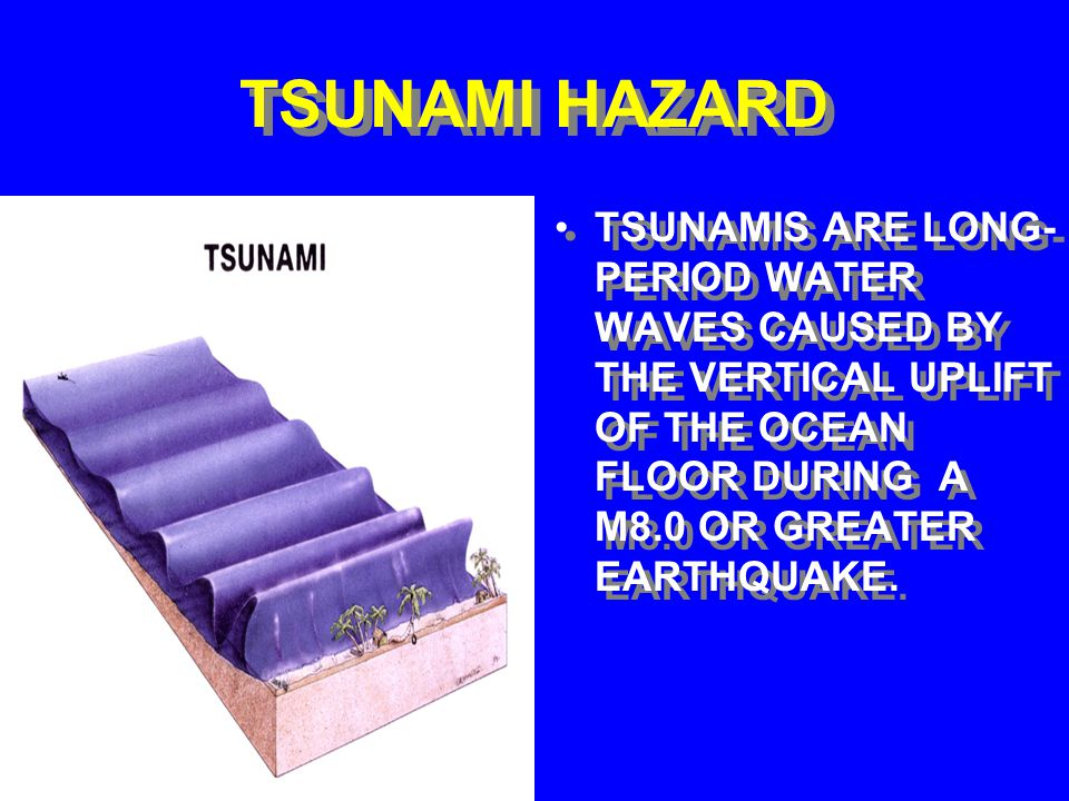 TSUNAMI HAZARD TSUNAMIS ARE LONG- PERIOD WATER WAVES CAUSED BY THE VERTICAL UPLIFT OF THE OCEAN FLOOR DURING A M8.0 OR GREATER EARTHQUAKE.