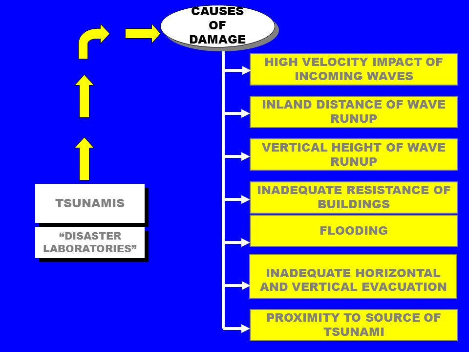 HIGH VELOCITY IMPACT OF INCOMING WAVES TSUNAMIS INLAND DISTANCE OF WAVE RUNUP VERTICAL HEIGHT OF WAVE RUNUP INADEQUATE RESISTANCE OF BUILDINGS FLOODING INADEQUATE HORIZONTAL AND VERTICAL EVACUATION PROXIMITY TO SOURCE OF TSUNAMI CAUSES OF DAMAGE DISASTER LABORATORIES
