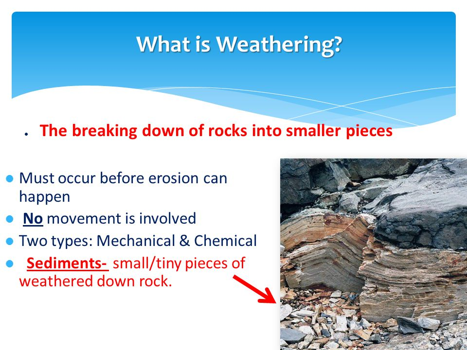 Physical/Mechanical weathering … the breaking down of rocks into smaller pieces with out changing what the material Physical Weathering -- The steep walls here were carved out by moving water Palo Duro Canyon in the High Plains Eco-Region What is Physical Weathering?