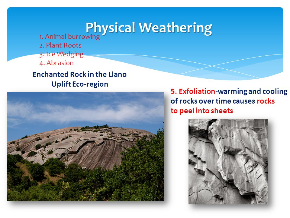 Enchanted Rock in the Llano Uplift Eco-region 5. Exfoliation-warming and cooling of rocks over time causes rocks to peel into sheets Physical Weatheri