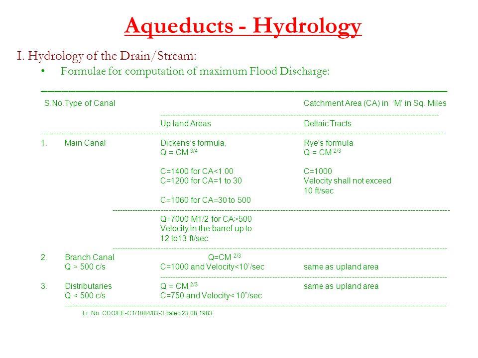 Aqueducts - Hydrology I. Hydrology of the Drain/Stream: Formulae for computation of maximum Flood Discharge: _________________________________________