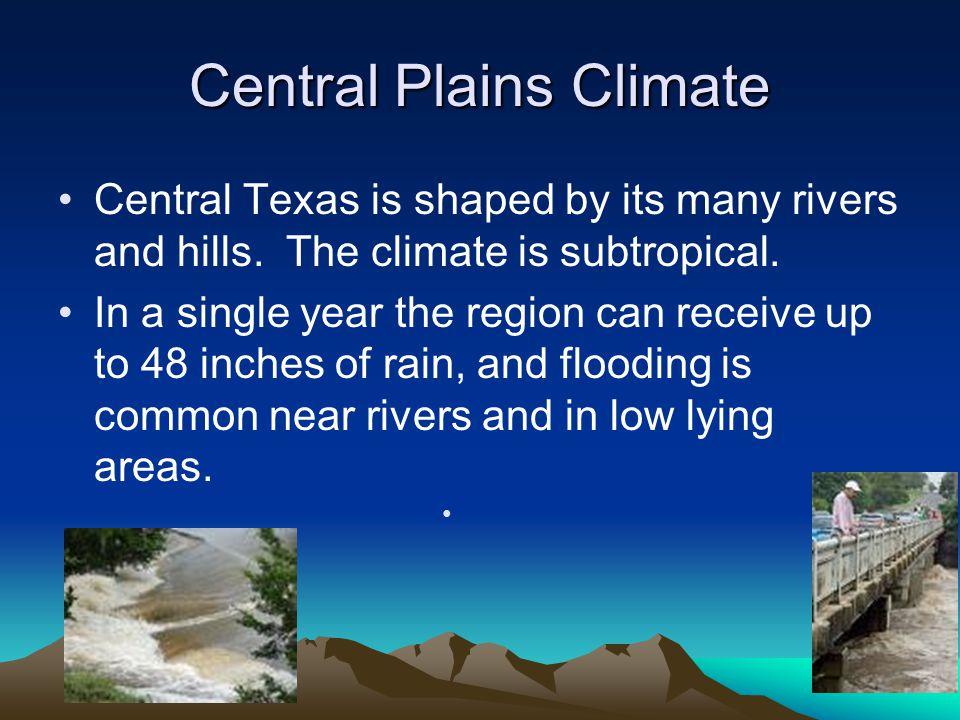 Central Plain - Plants Blue bonnets Indian Paintbrush Texas Oak Trees Mesquite Trees Baldcypress Trees