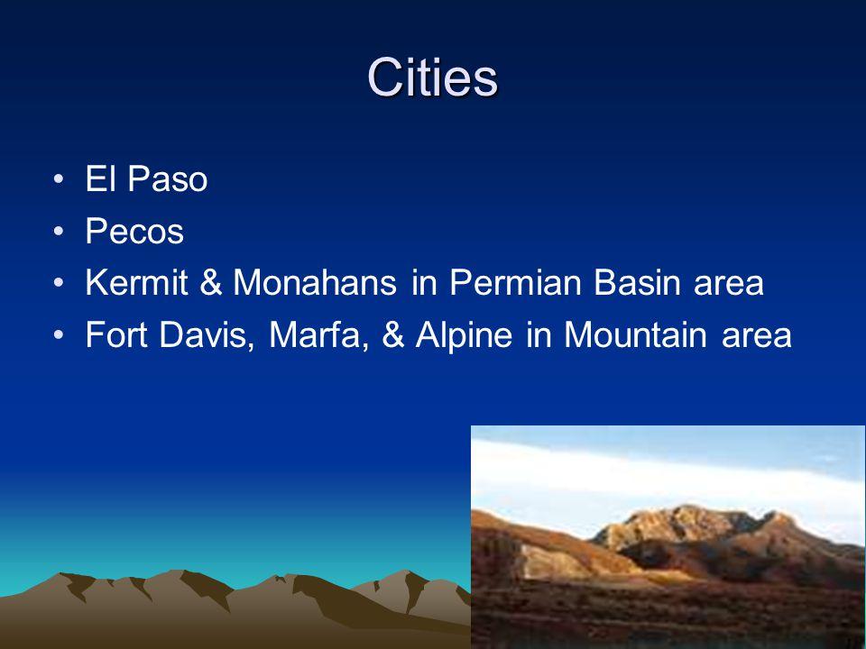 Location Far west Texas East border near Pecos River South border is the Rio Grande North border is New Mexico
