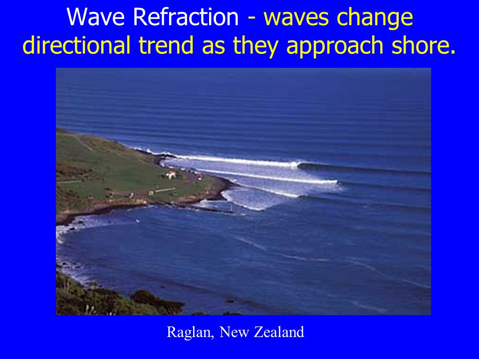 Wave Refraction - waves change directional trend as they approach shore. Raglan, New Zealand