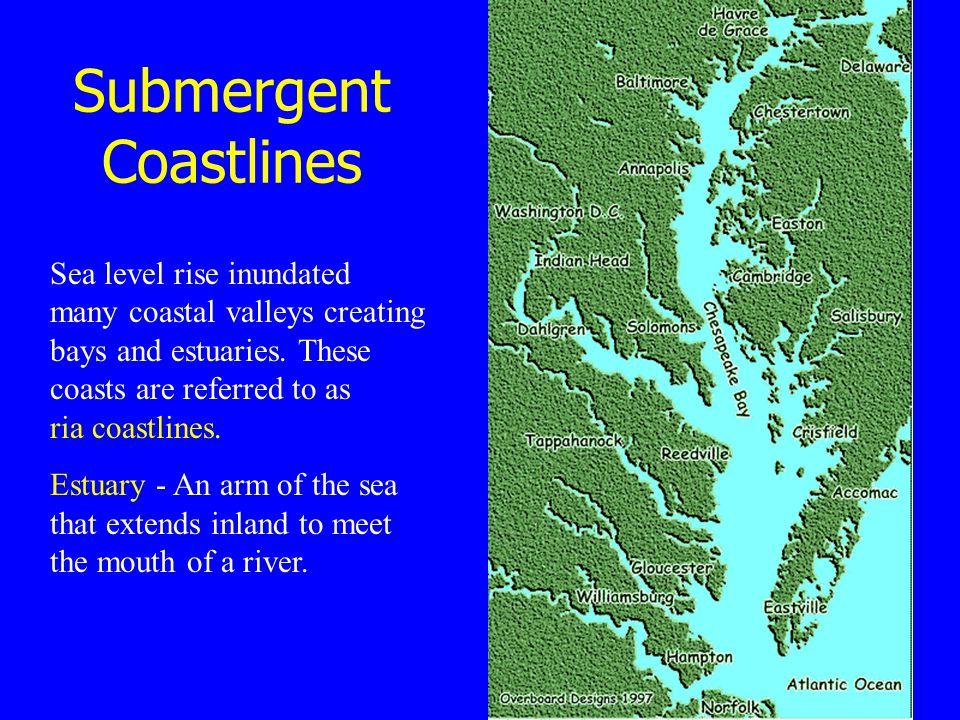 Submergent Coastlines Sea level rise inundated many coastal valleys creating bays and estuaries.