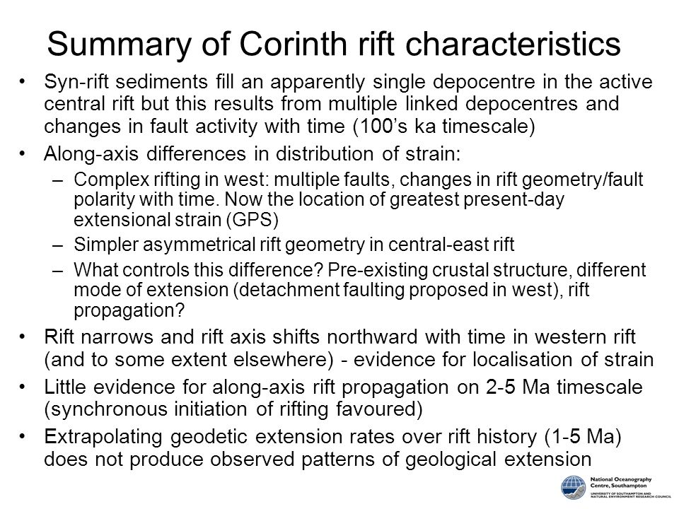 Summary of Corinth rift characteristics Syn-rift sediments fill an apparently single depocentre in the active central rift but this results from multiple linked depocentres and changes in fault activity with time (100's ka timescale) Along-axis differences in distribution of strain: –Complex rifting in west: multiple faults, changes in rift geometry/fault polarity with time.