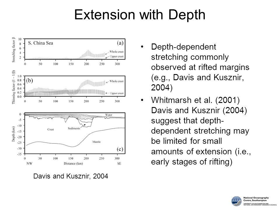 Depth-dependent stretching commonly observed at rifted margins (e.g., Davis and Kusznir, 2004) Whitmarsh et al. (2001) Davis and Kusznir (2004) sugges