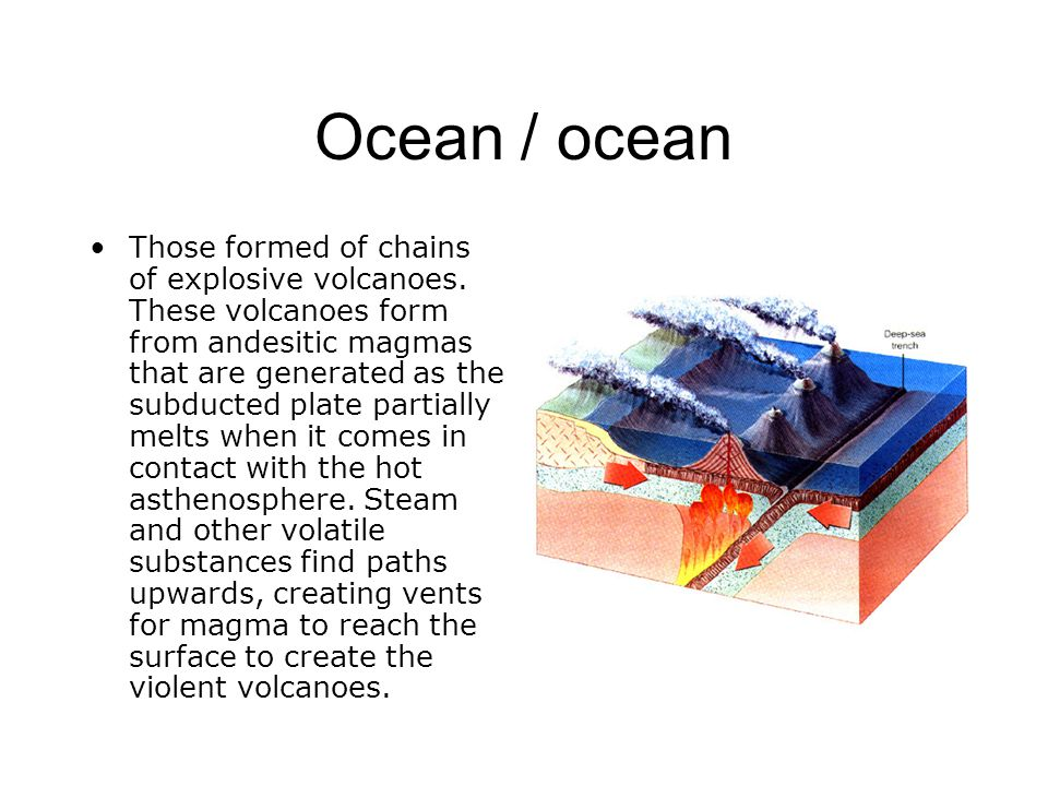 Ocean / ocean Those formed of chains of explosive volcanoes. These volcanoes form from andesitic magmas that are generated as the subducted plate part