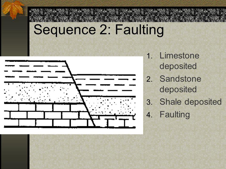 Sequence 1: Uplift & Erosion 1. Limestone deposited 2. Sandstone deposited 3. Shale Deposited 4. Uplift 5. Erosion
