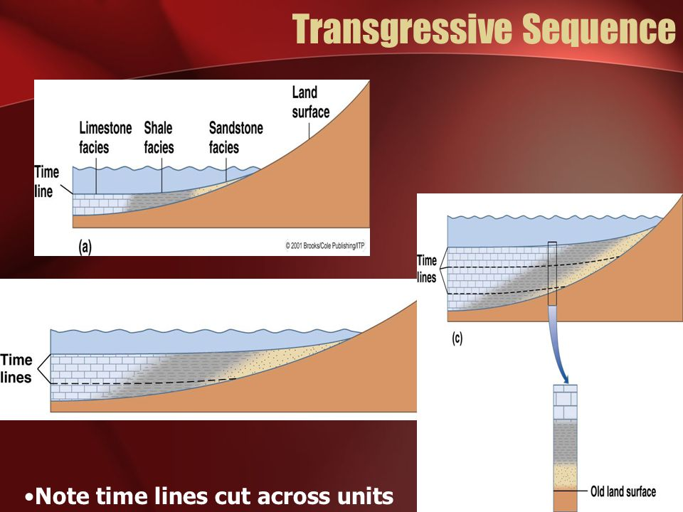 Transgressive Sequence Note time lines cut across units