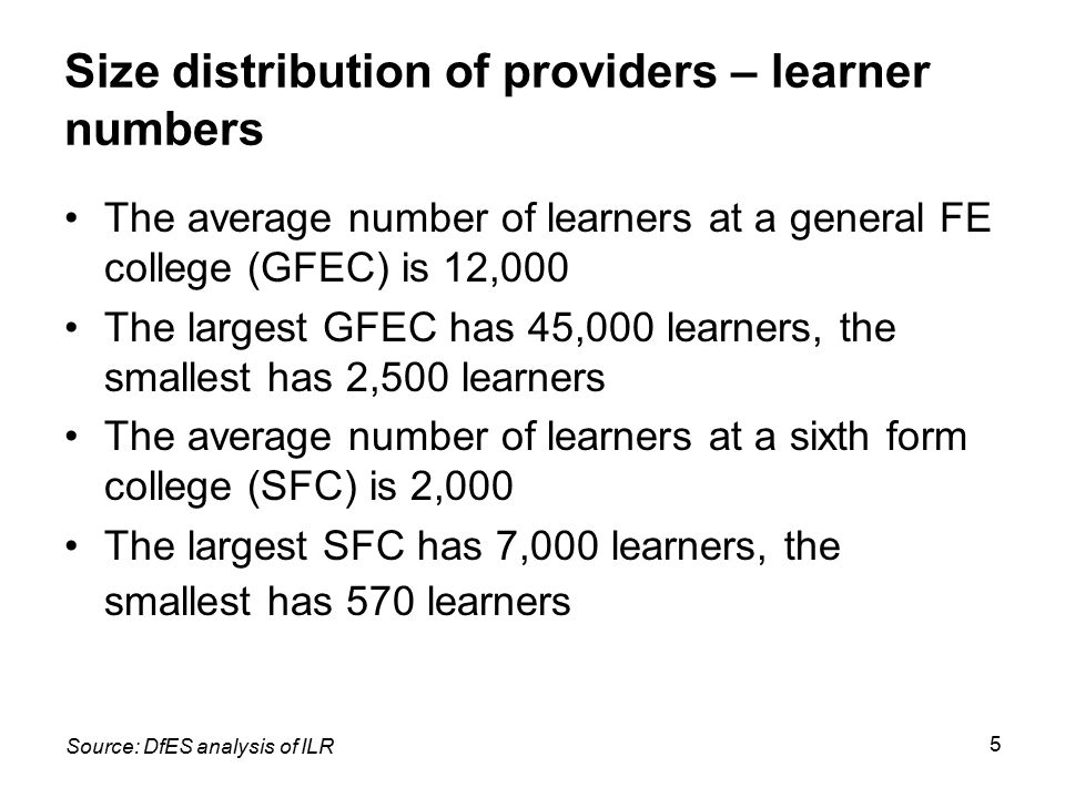 5 Size distribution of providers – learner numbers The average number of learners at a general FE college (GFEC) is 12,000 The largest GFEC has 45,000
