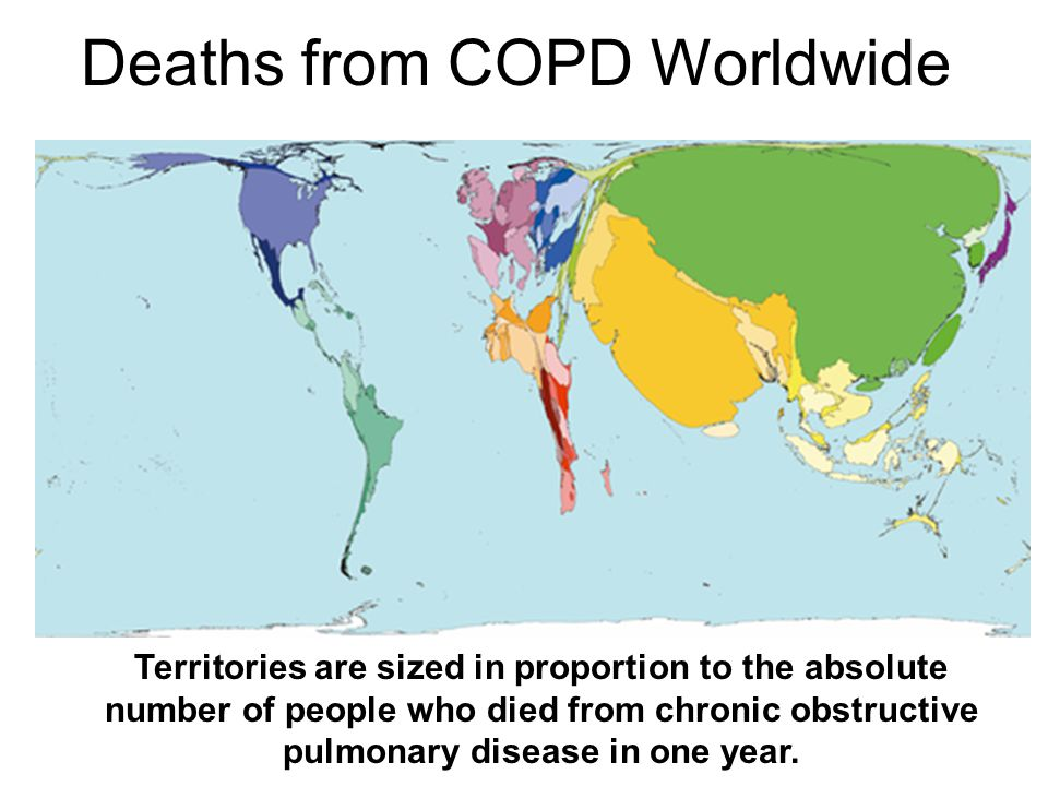 Territories are sized in proportion to the absolute number of people who died from chronic obstructive pulmonary disease in one year. Deaths from COPD